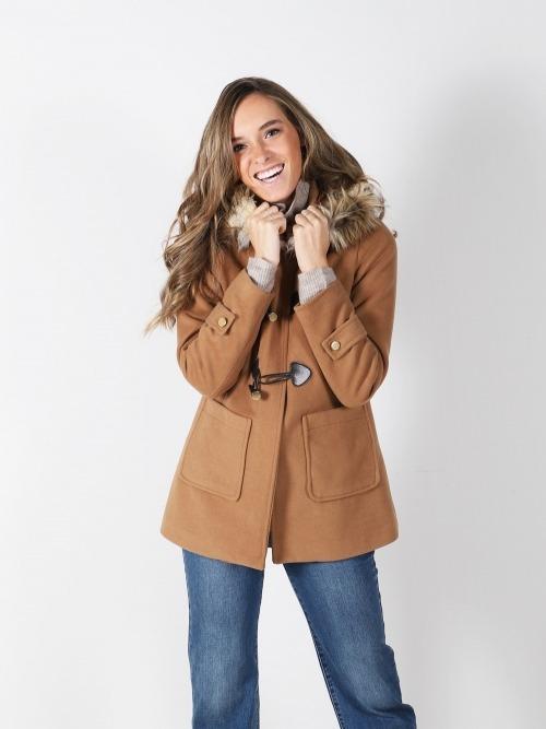 Abrigo pano capucha liso mujer
